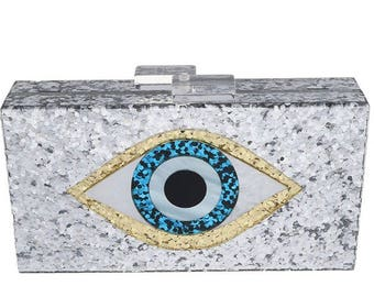 Glitter Evil Eye Clutch Personalized with Monogram | Name | Hashtag | Custom