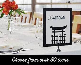 San Francisco Table Number Card Wedding Decor Sign City Landmarks Bridal Reception Signage