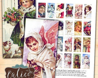 Domino Collage Sheet, Victorian Holiday, Christmas Printable, 1x2 Collage Sheet, 1x2 Domino Images, Christmas Supply, Printable Ephemera