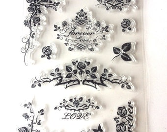 Floral  Silicone Stamp/ Flower Clear stamp/ Rose  Rubber stamps/ Bouquet DIY card Craft