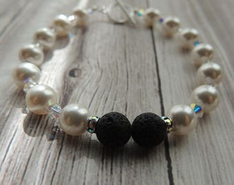 Black lava stone and pearl sterling silver aromatherapy bracelet