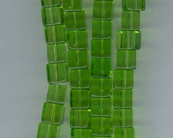 Green Cube Beads, 6mm Green Glass Cube Spacer Beads 6x6mm Bead Spacers 16 Inch Strand