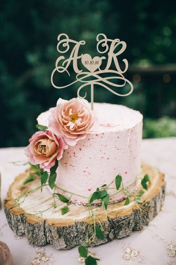 Wedding Cake Topper Initials Personalized Wood Monogram