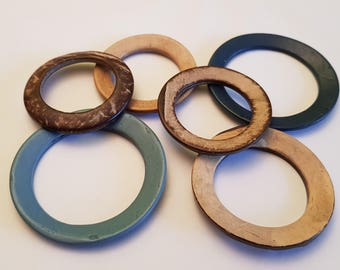 Coconut shell rings, DIY crafts, jewelry making supplies, mixed sizes lot of 4, craft rings