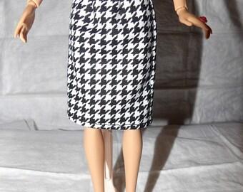 Fashion Doll Coordinates - Black & white houndstooth checked skirt - es372