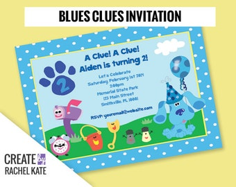 Blues Clues Birthday Party Personalized Printable Invitation (Blue, Pink or Custom)