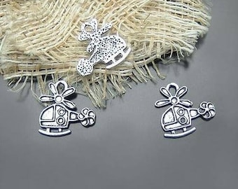 Set of 4 Tibetan silver charms helicopters 19x18mm.
