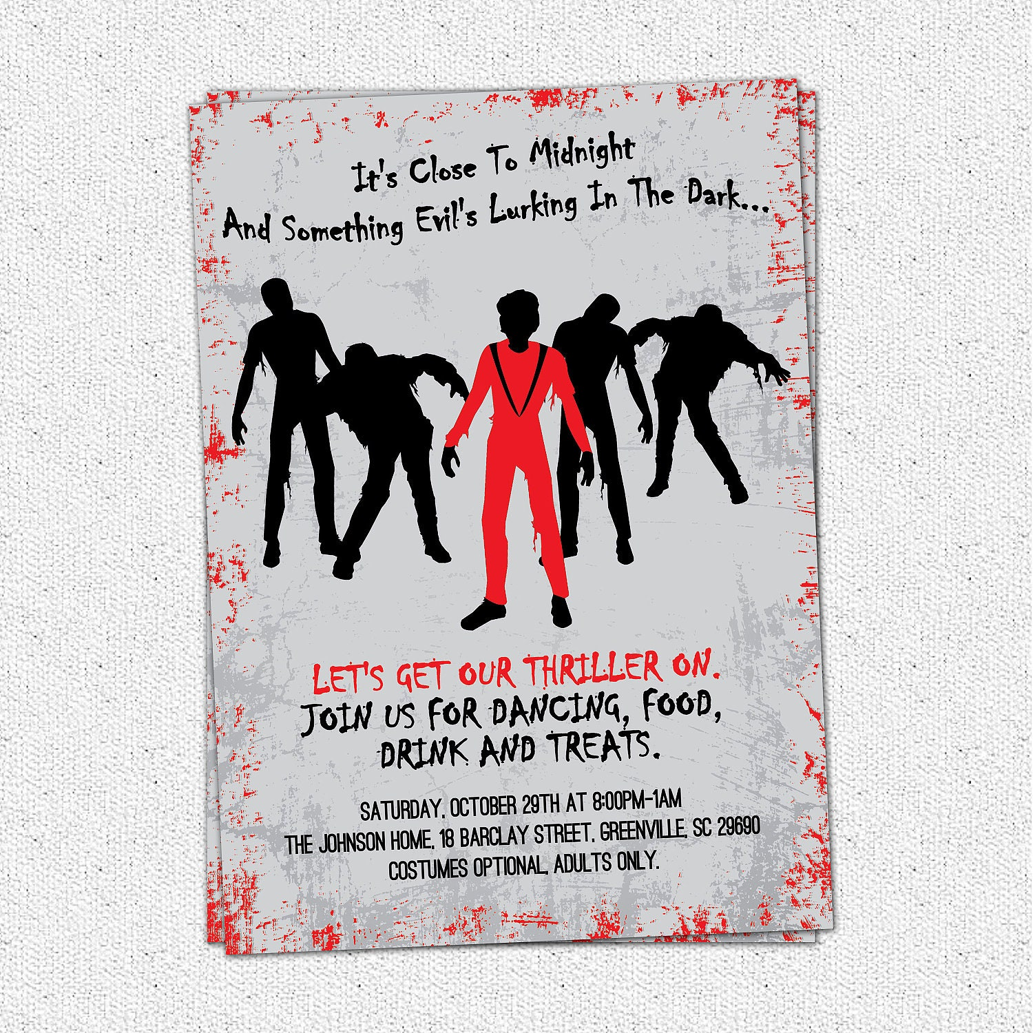 Printable Thriller Halloween Birthday Invitation Party