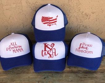Patriotic  ADULT OR TEEN Girls Trucker Hat Baseball Cap Snap Back