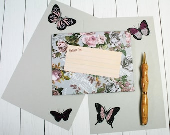 BUTTERFLY STATIONERY SET; Set of Sheets of Stationery and Matching Handmade Envelope