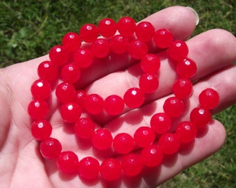 ORANGE 8MM FACETED RUBY BEADS 4 A.