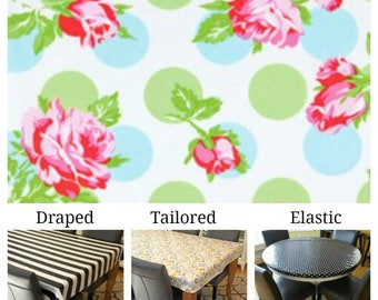 Laminated Cotton Oilcloth  Tablecloth waterproof Tanya Wheelan Sugar Hill Falling Roses in blue with green polka dots pick your size