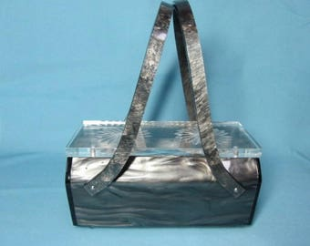 Vintage Rialto Lucite Box Purse, Marbleized Pearl Gray + Clear, Nice