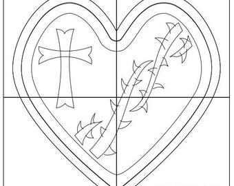 Scroll Saw Box Template- Sacred Heart Rosary Box