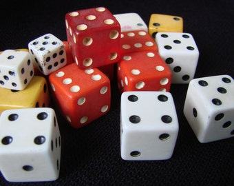 Lot of 16 Vintage Red, Yellow and White Dice for Altered Art