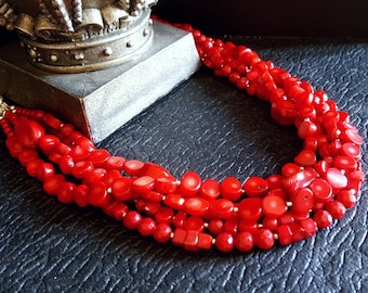 Spring Sale 15% 5 Strand Genuine Red Branch Coral Statement Necklace  Bib Statement Gift For Her