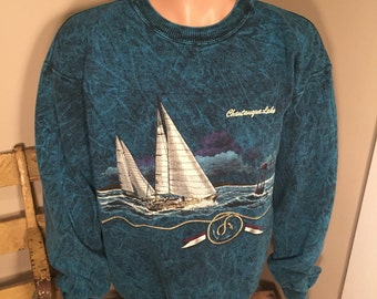 Chattanooga Lake sweatshirt // Vintage acid washed crewneck // Chattanooga Tennessee // sailing boating // cool hipster rad //