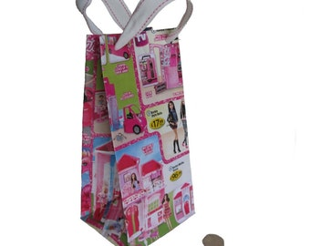 Upcycled Barbie Gift Bag, Gift Bag for girl, Barbie Gift Bag, Upcycled Gift Bag