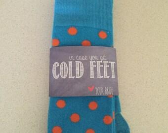 Groom socks, cold feet socks wrapper, in case you get cold feet sock label - chalkboard