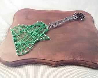 Green Guitar String Art