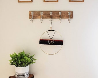 Yarn and Ring Wall Hanging With Mineral Embellishments