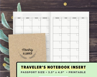 TN PASSPORT Size Inserts - Printable Traveler's Notebook Pages, Monthly Planner, Blank Refills, MO2P, Instant Download, Midori Wallet