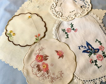 Mixed Vintage Doilies ~ Five different pieces