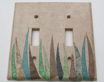 Decorative Grass Wall Decor Light Switch Plates, upcycled with handmade paper from reclaimed materials-Recycled Handmade Paper