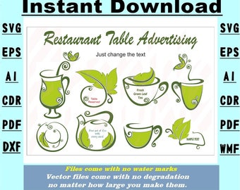 Cafe Restaurant advertising Decals  SVG Vector Stencil Instant download 7 file formats Drawing/cutting files #4