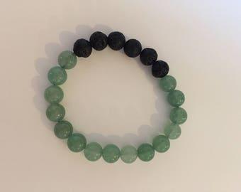 Green aventurine and lava stone, essential oil diffuser bracelet