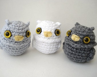 Owlet - Amigurumi Owl Doll with Keychain or Ornament Options - Choose Your Own Color