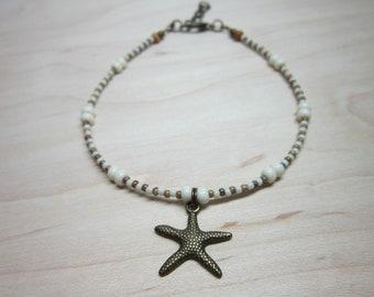 Beachy Boho Summer Anklet, Ankle Bracelet, Star Fish Anklet, Summer Jewelry, Seed Bead Anklet, Seed Bead Jewelry