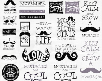 Mustache Word Art, Hipster ClipArt, Moustache Quote, Movember Scrapbook Titles, PNG Digital Graphics + PS Brushes, Digital Art