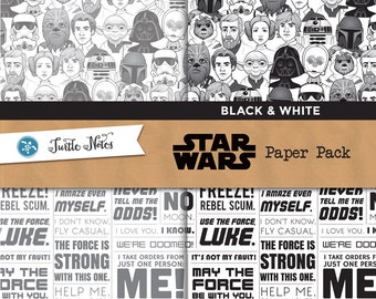 Star Wars Black & White Paper Pack : 12 Printable Digital Scrapbook Papers