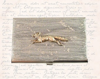 Fox Run Business Card Case Inlaid in Hand Painted Enamel Silver with Silver Splash Neo Vistorian Woodland Inspired Personalized Options