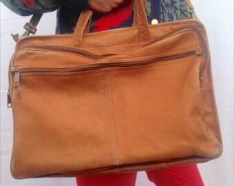 100% leather vintage camel messenger bag