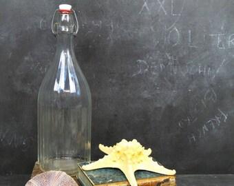 67oz Large French Vintage Faceted Bottle . Antique Soda Bottle . 1930s Water Bottle