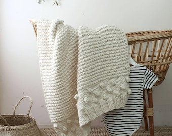 Knit Baby Blanket The Bobble Crib Size Hand