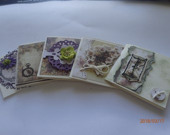 Set of 5, handmade, gift cards, suitable for a man or a woman