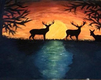 Deer 16x20 silhouette canvas acryllic painting in sunset