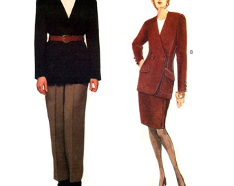 90's Vogue American Designer 1228 Anne Klein Lined Jacket, Tapered Skirt and Pants, Uncut, Factory Folded, Sewing Pattern Size 12-16