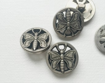 Vintage Silver Intricate Butterfly Buttons - PA1123