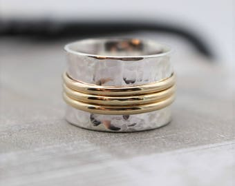 Sterling Silver Gold Spinner Ring - Gold Silver Fidget Ring