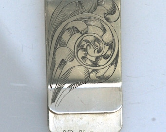 Money Clip, Hand Engraved Full Coverage Stainless Steel
