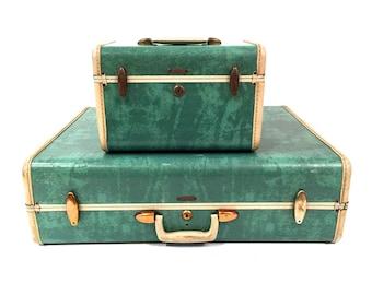 Mid Century Samsonite Luggage Set - Samsonite Train Case - Samsonite Suitcase - Vintage Luggage - Seafoam Green Samsonite - Train Case