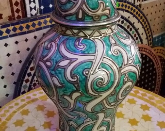 Turquoise and White Moroccan Vase
