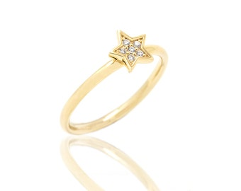 Diamond Star engagement Ring - 14K Gold and Diamonds Engagement Ring - Dainty Gold Ring with 6 Diamonds - Free Express Shipping