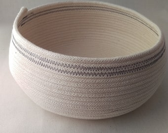 Colwell Cotton Rope Bowl in Twilight, a handmade coiled cotton rope storage basket