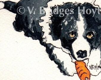 ACEO Original. Border Collie Dog Art. Collectible