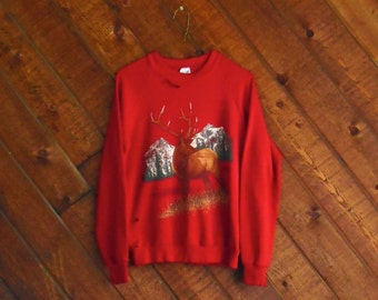 Red Nature Elk Print DESTROYED Sweatshirt - Vintage 90s - XS S
